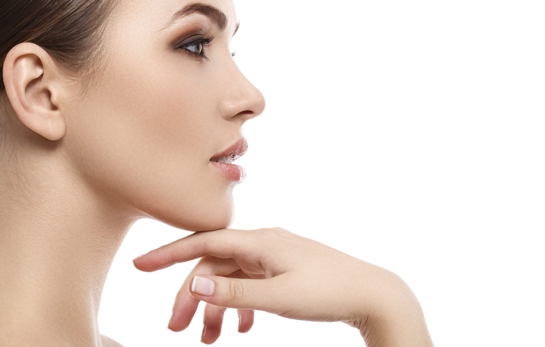 Attractive woman with beautiful face and chin
